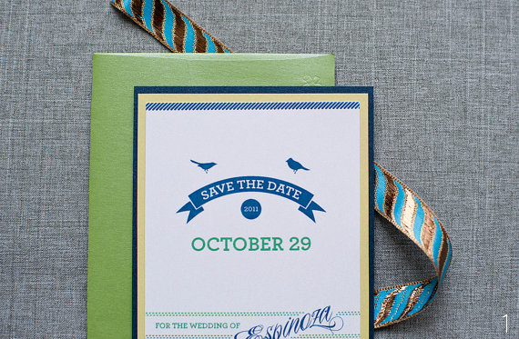 Bird Wedding Accessories - save the date by Lama Works