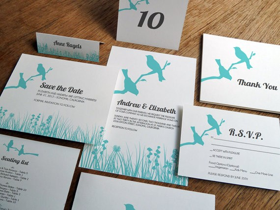 birds printable wedding invitations