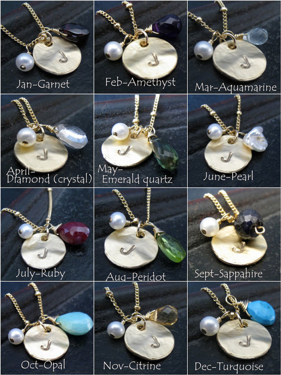 birthstone gem chart - Birthstone Bridesmaid Jewelry