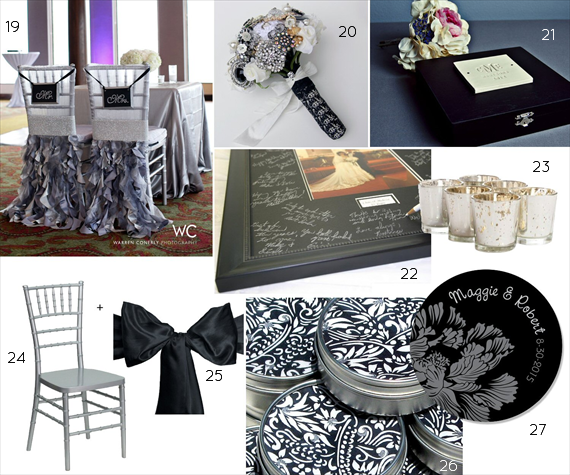 black and silver wedding decor
