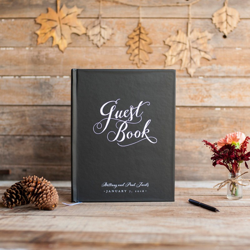 black and white wedding guest book by starboard press