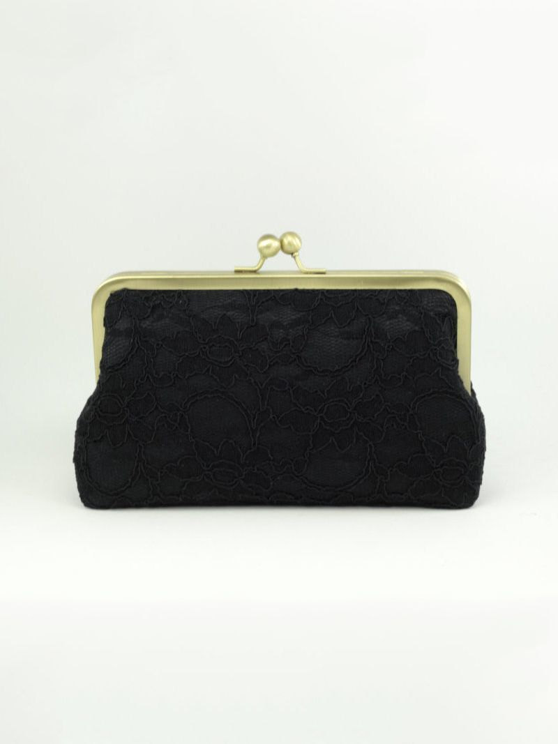 black lace clutch with gold clasp