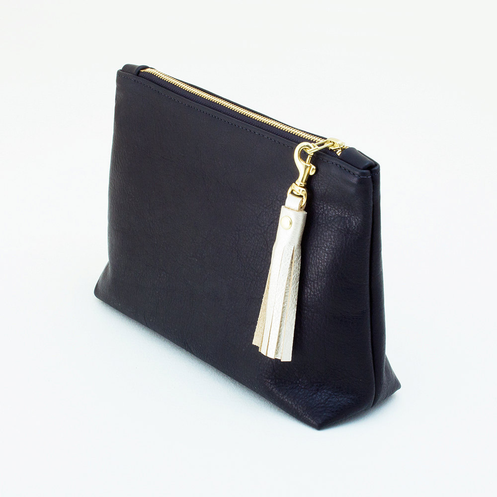 black leather bag with tassel by jilly designs