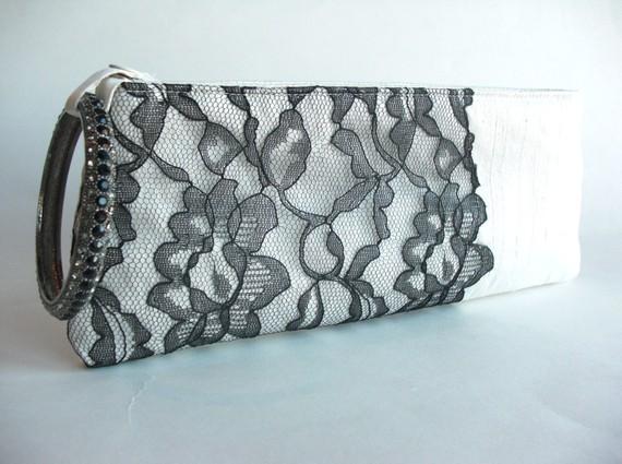 wedding wristlet - black modern lacy keep bag 2