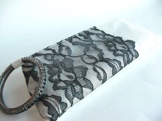 wedding wristlet - black modern lacy keep bag