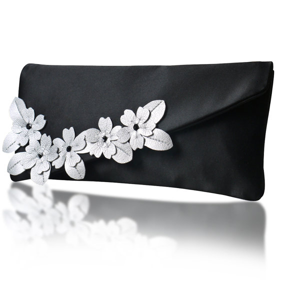 black satin wedding party bags with white flowers