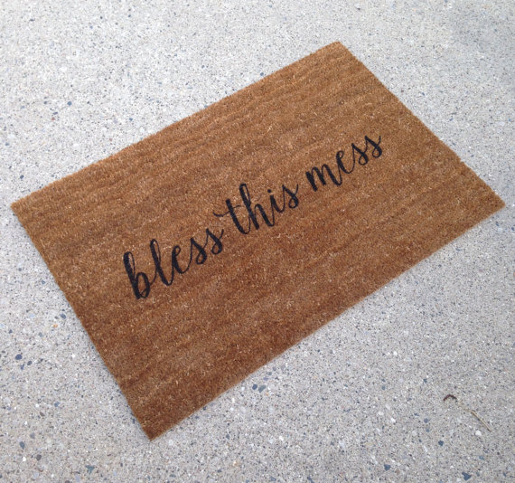 bless this mess doormat - custom doormats etsy collection from LoRustique | https://emmalinebride.com/gifts/custom-doormats-etsy/
