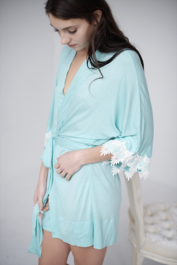 blue bridal robe - bridal lingerie (by Tessa Kim)
