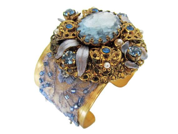 blue crystal cuff bracelet
