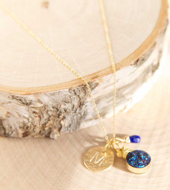 blue druzy necklace with initial pendant | druzy bridesmaid jewelry