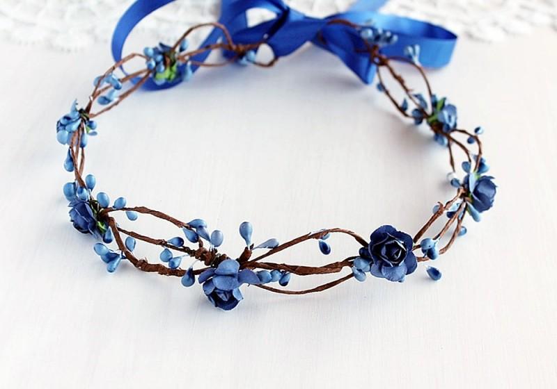 Blue Flowers | Flower Girl Hair Crowns | https://emmalinebride.com/flower-girl/hair-crowns/