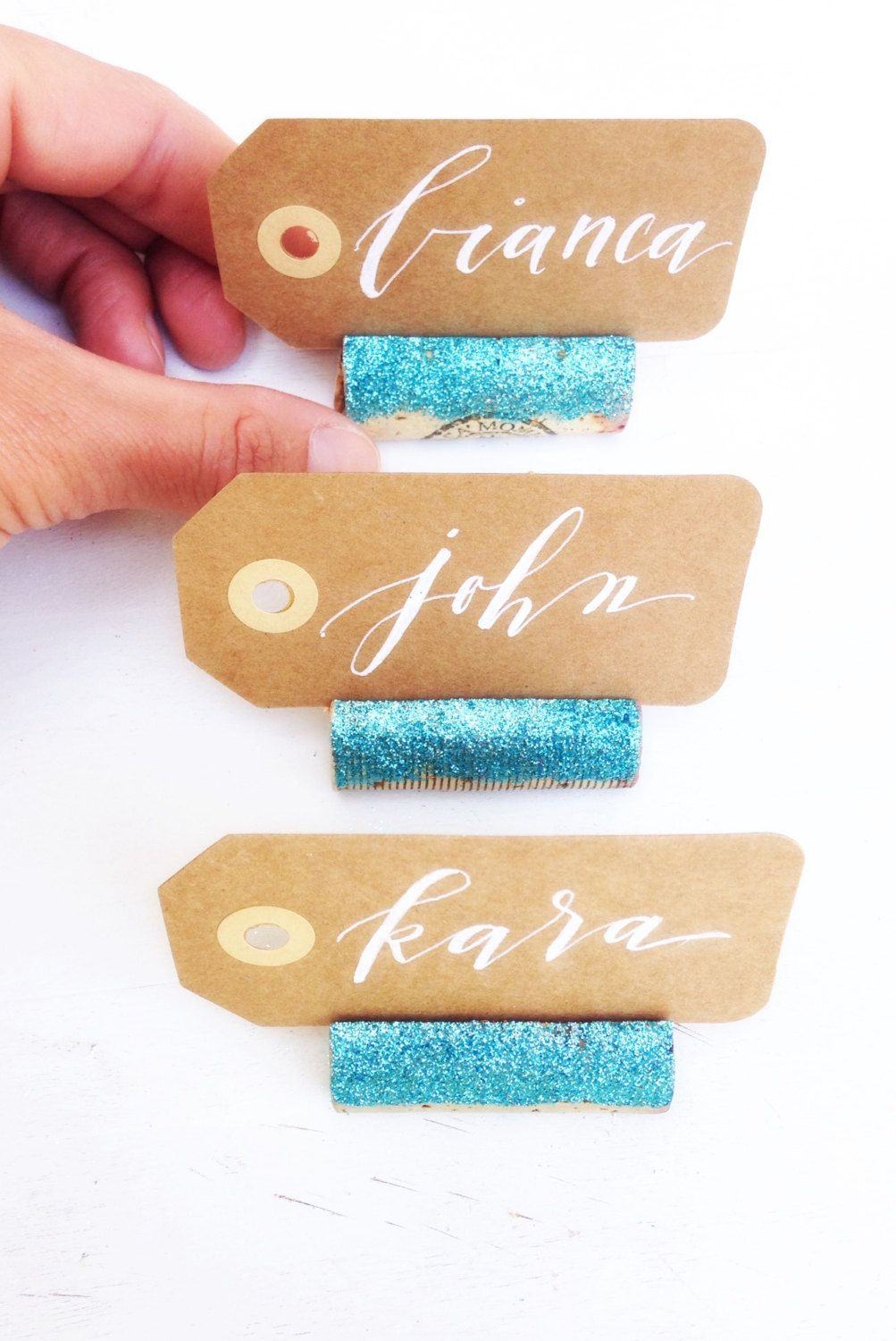 Cute & festive place card holders! By Kara's Vineyard Wedding. | place card holders glitter
