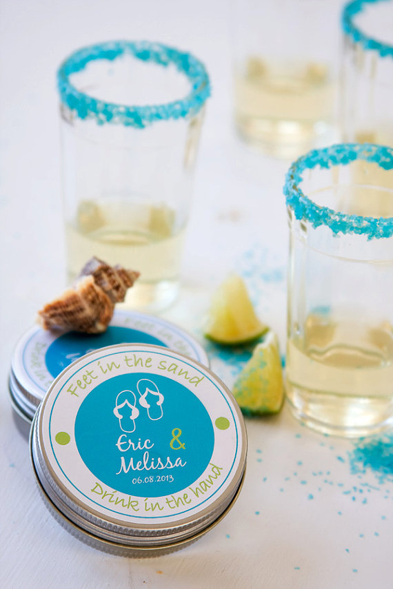 blue margarita salt favors for margarita bar wedding setup