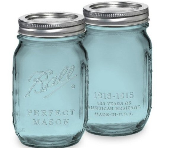 How to Make Mason Jars Look Old - blue mason jars