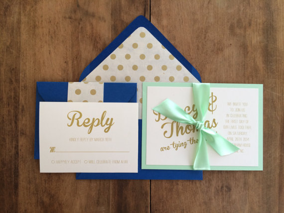 blue mint gold wedding invitations - easy invitation detail
