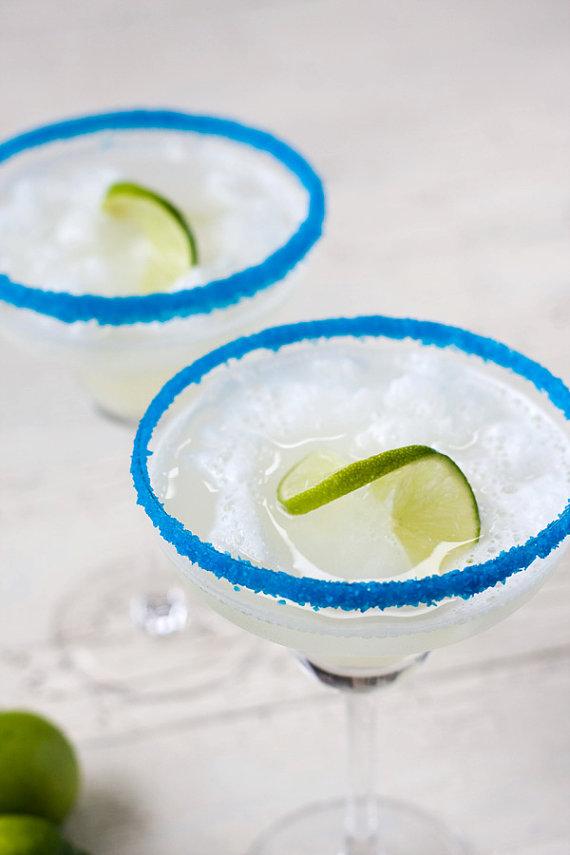 blue rimmed margarita sugar for margarita bar wedding setup