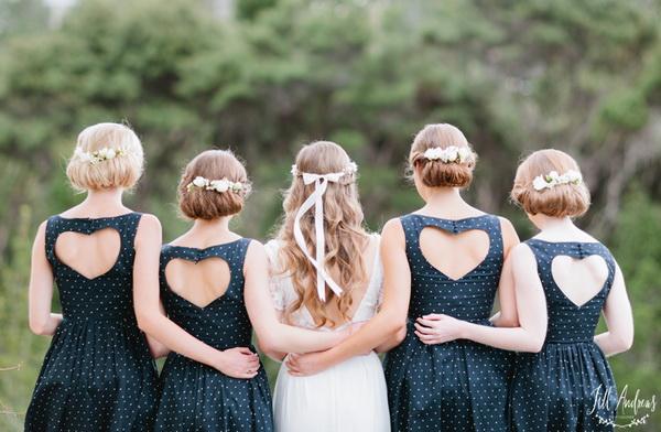 blue-short-bridesmaid-dresses-with-heart-back - emmaline bride wedding blog