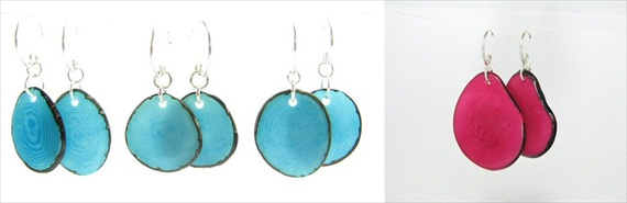 blue tagua eco-friendly jewelry earrings