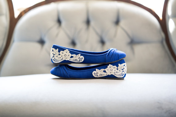 blue wedding flats by Walkin On Air | via 5 Tips to Make Wedding Flats Absolutely Easy to Wear http://emmalinebride.com/bride/tips-flats-wedding/
