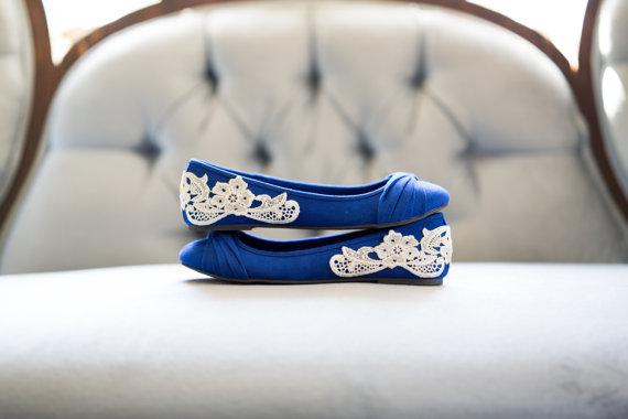 blue wedding flats by Walkin On Air   via 5 Tips to Make Wedding Flats Absolutely Easy to Wear http://emmalinebride.com/bride/tips-flats-wedding/