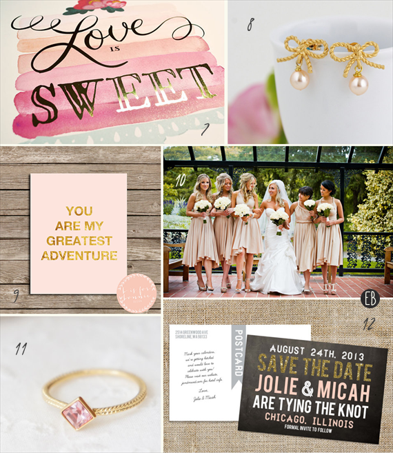 blush and gold wedding inspiration (via EmmalineBride.com)