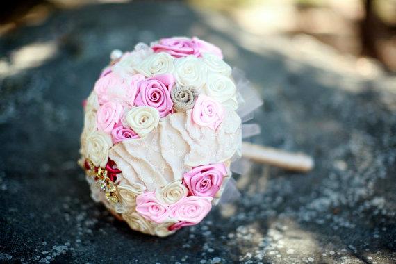 21 Unique Ceremony Ideas for Your Wedding (via Emmaline Bride) - handmade fabric flower bouquet by All for Love, L.O.V.E.