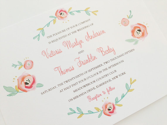 blush via 6 Colorful Wedding Invitations with Florals