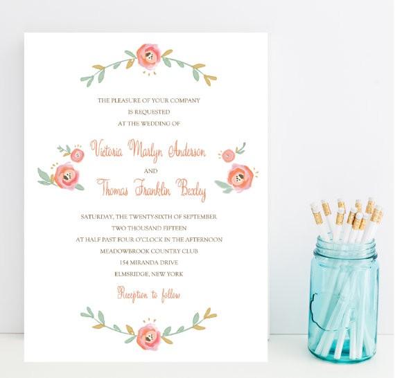 blush floral wedding invitations
