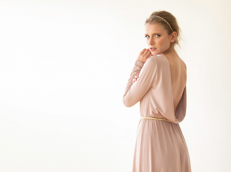 Blush Pink Bridesmaid Maxi Dress | via Bridesmaid Maxi Dresses https://emmalinebride.com/bridesmaids/bridesmaid-maxi-dresses/