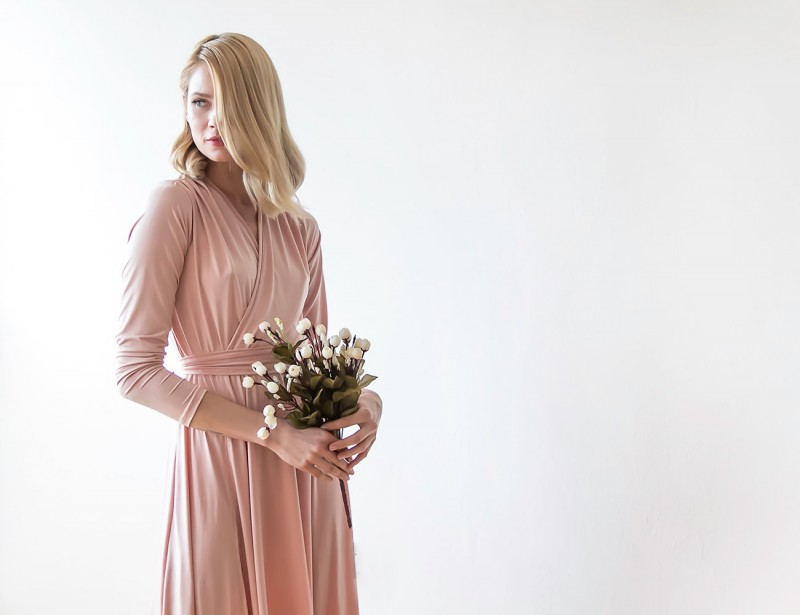 Blush Pink Bridesmaid Maxi Dress | via Bridesmaid Maxi Dresses https://emmalinebride.com/bridesmaids/bridesmaid-maxi-dresses/