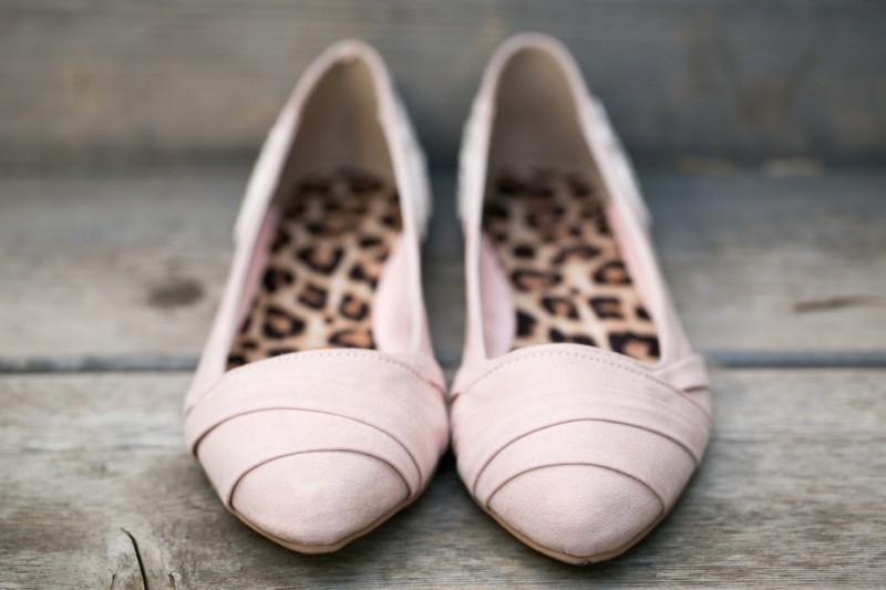blush wedding flats with leopard sole | via 31 Best Handmade Wedding Shoes http://emmalinebride.com/bride/handmade-wedding-shoes/