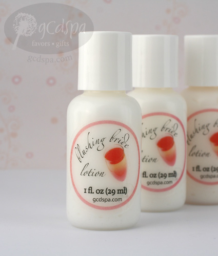 blushing bride lotion bridal shower favors