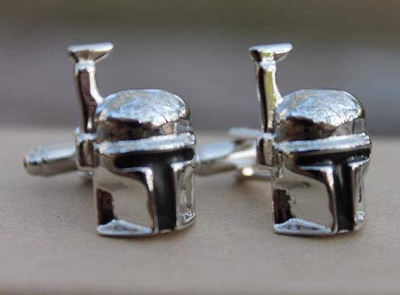 boba fett cufflinks | Custom Cufflinks Groomsmen Gifts | via EmmalineBride.com