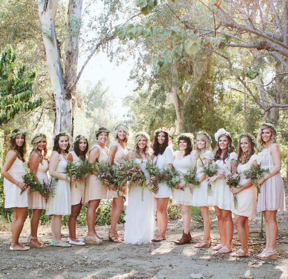 bohemian bridesmaid dresses via 9 Bohemian Wedding Ideas for your Free Spirited Side