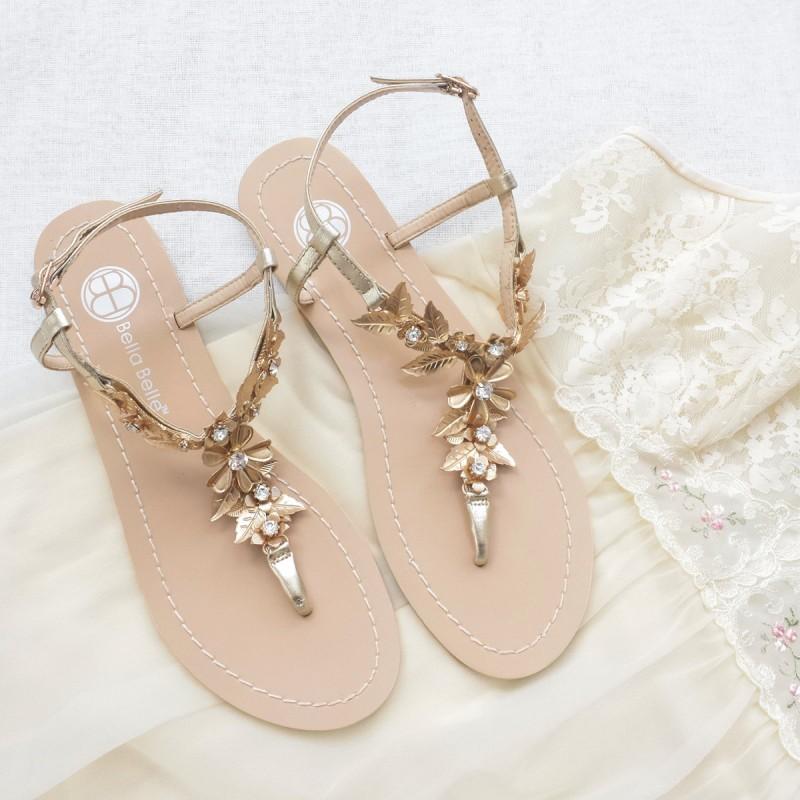 bohemian gold wedding sandals | via 31 Best Handmade Wedding Shoes https://emmalinebride.com/bride/handmade-wedding-shoes/