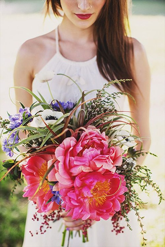 bohemian wedding bouquet via 9 Bohemian Wedding Ideas for your Free Spirited Side