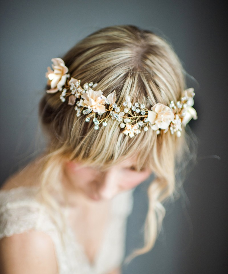 Bohemian Wedding Hair Wreath | https://emmalinebride.com/bride/bohemian-wedding-hair-wreath/