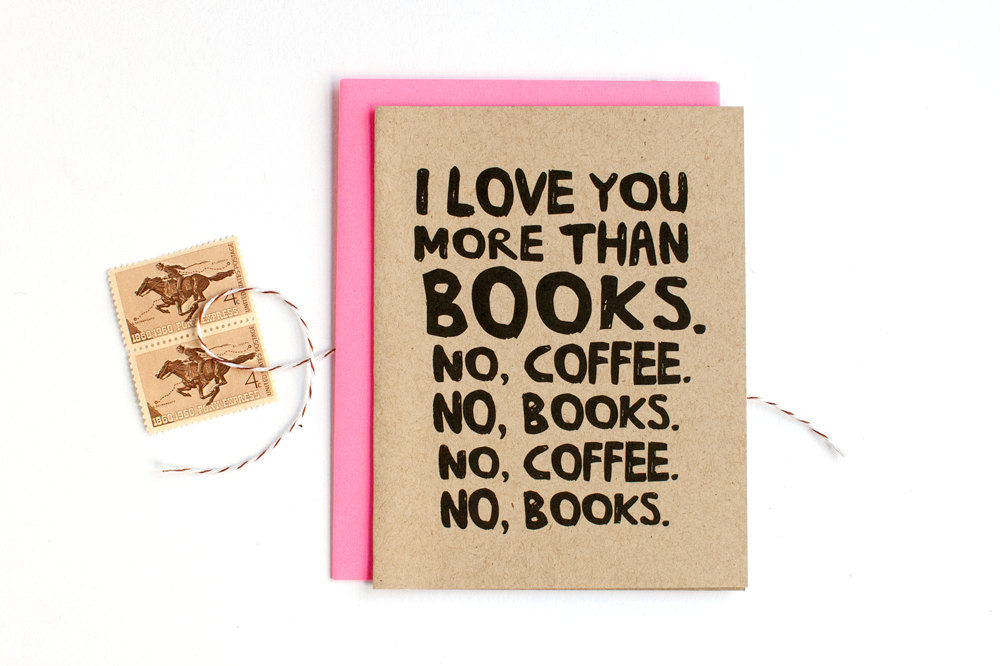 books and coffee - via funny valentine cards etsy from EmmalineBride.com