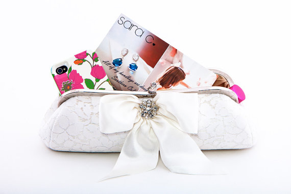 bridal clutch bags - bow