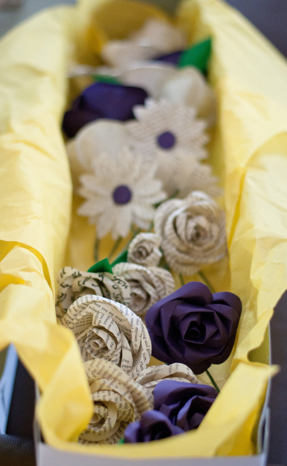 box of paper flowers via 7 Paper Flower Bouquets to Pick for Weddings