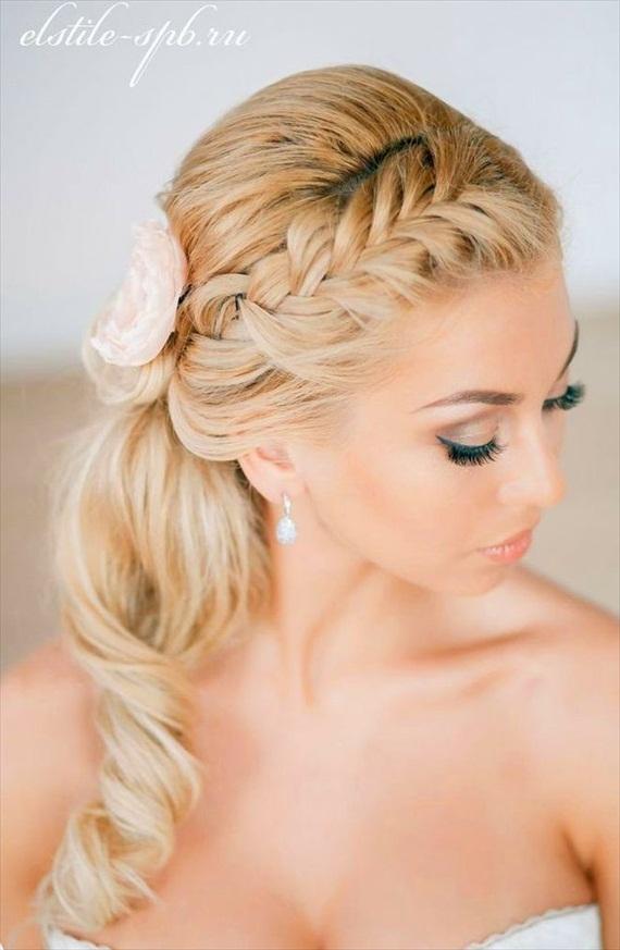 braided ponytail wedding hairstyle