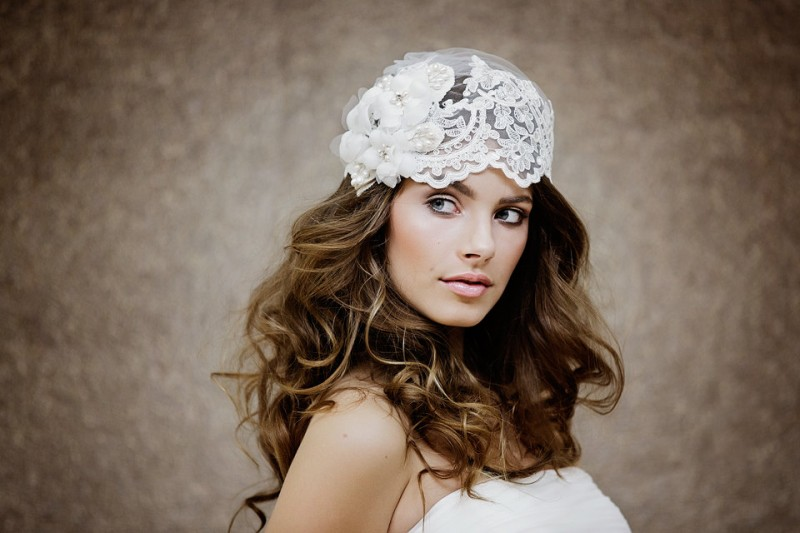 Bridal cap veil with flowers | https://emmalinebride.com/bride/bridal-cap-veils/