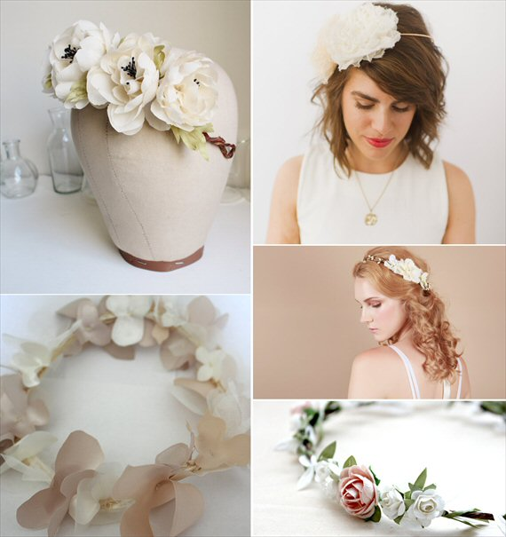 Wedding Halo Headbands & Crowns (headbands: top left - the botanist and co, bottom left - rose red bridal designs, top right - preston and olivia, middle - nuage colore, bottom right - roses and lemons)
