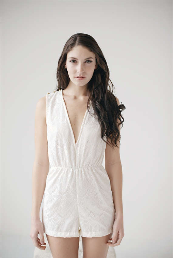 bridal lingerie - white romper (by Tessa Kim)