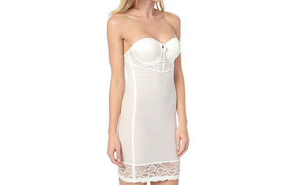 bridal shapewear in white strapless via What to Wear Under the Dress
