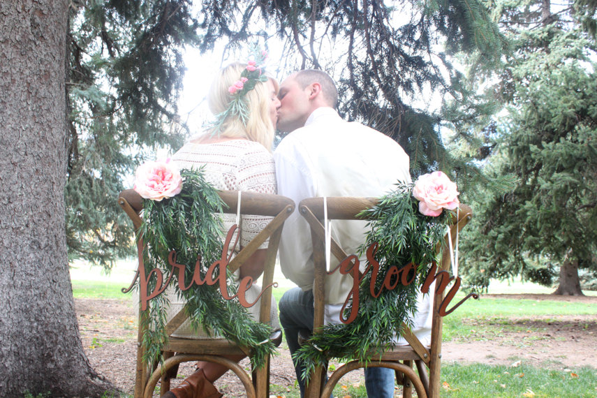 bride and groom chair signs cute | via bride and groom chair signs https://emmalinebride.com/decor/bride-and-groom-chairs/