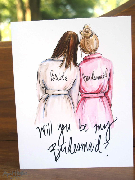bride bridesmaid robes cards (be my bridesmaid card)