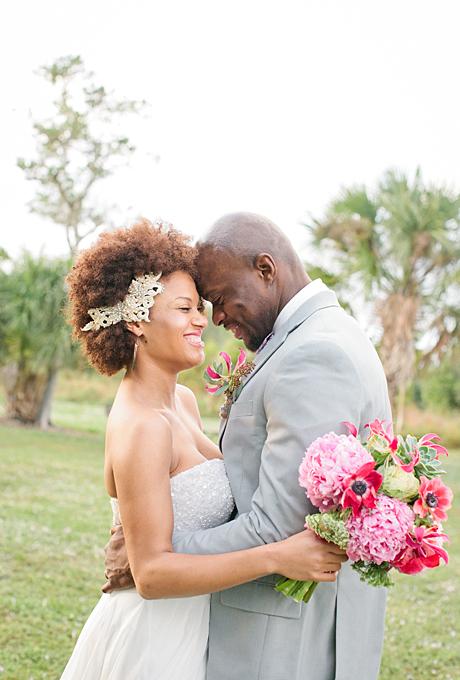 bride curly natural hair gold headband