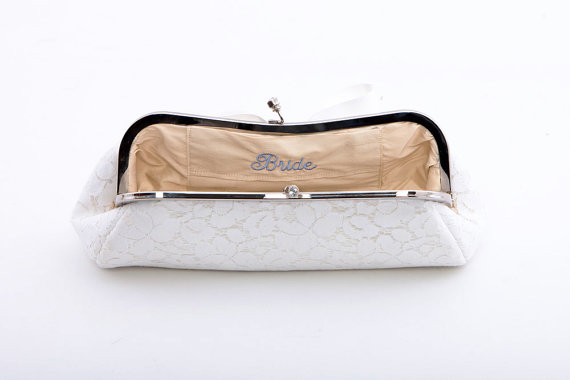 bridal clutch bags - bow clutch with embroidered bride on inside liner