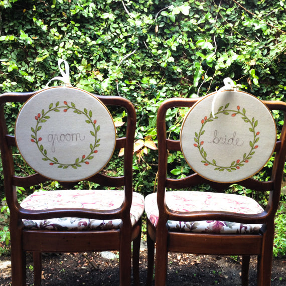 bride groom chair signs wedding hoop art